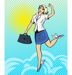 Pop art of happy businesswoman vector