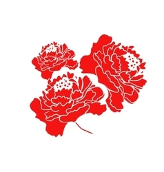 Red Blooming Peony Flower Design vector