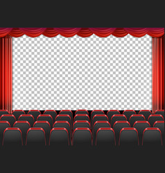 Red curtains in theater with transparent vector