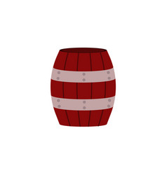 red wooden barrel with metal hoops for storage of vector image