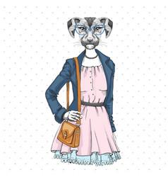 Retro hipster fashion animal dog woman model vector