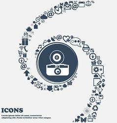 retro photo camera sign icon in the center Around vector image