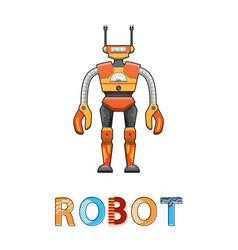 robot with funny face poster vector image