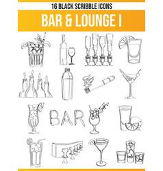 Scribble black icon set bar lounge i vector