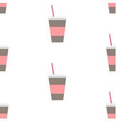 seamless repeating pattern with coffee cup vector image