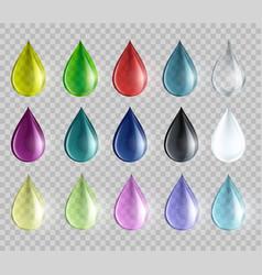 set colored drops vector image