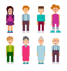 Set of males and females characters in flat design vector