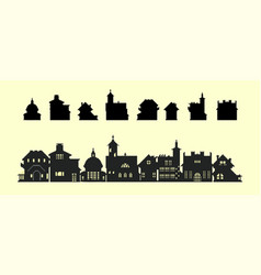 set silhouettes houses in old style vector image