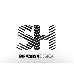Sh s h lines letter design with creative elegant vector