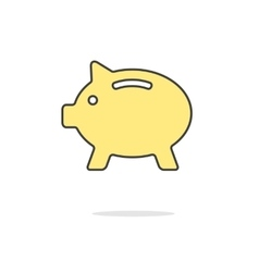 simple yellow piggy bank icon with shadow vector image