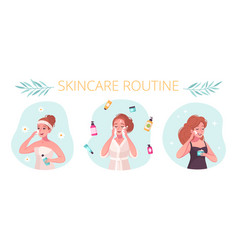 Skincare routine flat concept vector