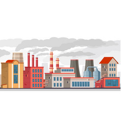 Smog pollution industrial factory with pipes vector