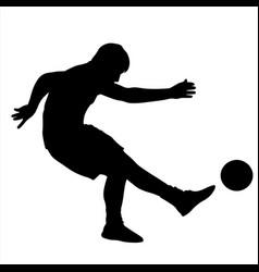 soccer player kicks the ball silhouette vector image