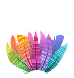 square card with multicolored boho feathers of vector image
