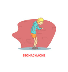 Stomach ache banner template boy suffering from vector