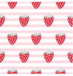 strawberry seamless striped pattern vector image