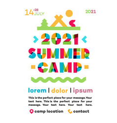 summer camp poster with nature landscape vector image