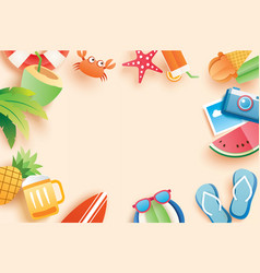 Summer paper cut symbol and objects icon with vector