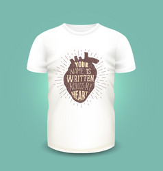 t-shirt print design with human heart silhouette vector image