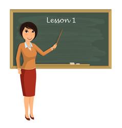 Teacher on lesson in classroom young teacher vector