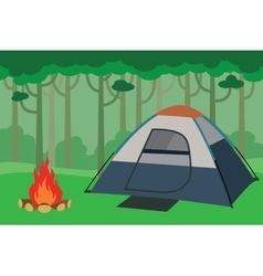 tent camping inside the jungle with trees forest vector image