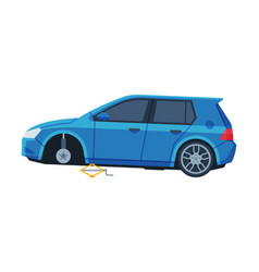 Tire wheel changing blue wheelless car auto vector