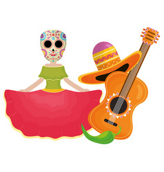traditional katrina with guitar and hat character vector image