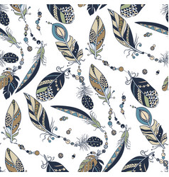 tribal native seamless pattern with feathers and vector image