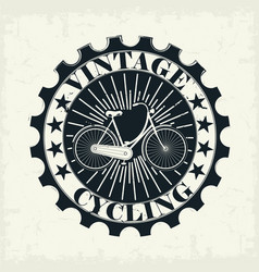 vintage bicycle stamp vector image