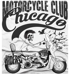 Vintage motorcycle setskull riders motorbike tee vector