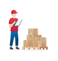 Warehouse worker checking goods on pallet stock vector