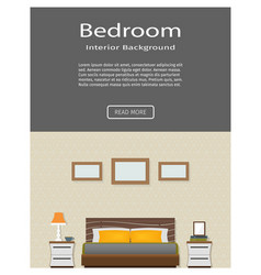 Web banner of modern bedroom interior with vector