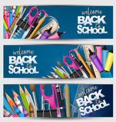 Welcome back to school banner set with supplies vector