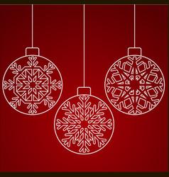white christmas balls with snowflakes snowflakes vector image