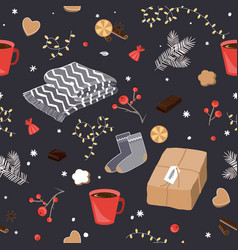 winter and christmas items seamless pattern vector image
