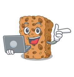 With laptop granola bar character cartoon vector