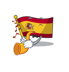 With trumpet flag spain isolated in cartoon vector