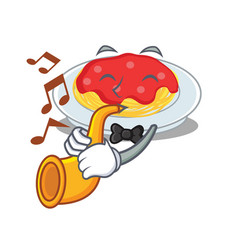 with trumpet spaghetti character cartoon style vector image