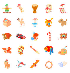 Wooden toy icons set cartoon style vector