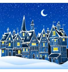 Christmas snow scene vector image vector image