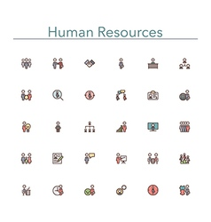 Human Resources Colored Line Icons vector image vector image