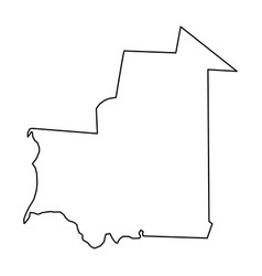 mauritania map of black contour curves on white vector image vector image