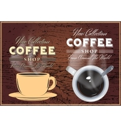 patterns of coffee with inscriptions on background vector image vector image