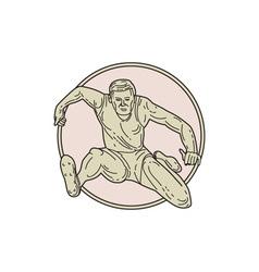 Track and Field Athlete Hurdle Circle Mono Line vector image vector image