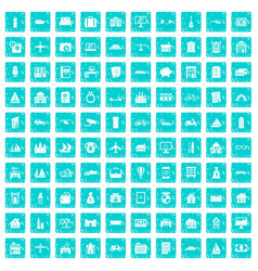 100 property icons set grunge blue vector image vector image