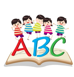 happy Kids Playing with letter and on book vector image