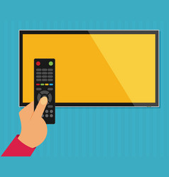 human hand with black remote tv control flat vector image