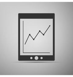 Tablet with business charts icon vector image vector image