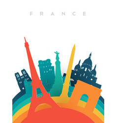 travel france 3d paper cut world landmarks vector image