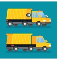 Yellow mining truck construction transport vector